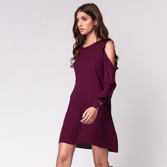 87862be0488d2 YFB Cold Shoulder Ruffle Shift Dress